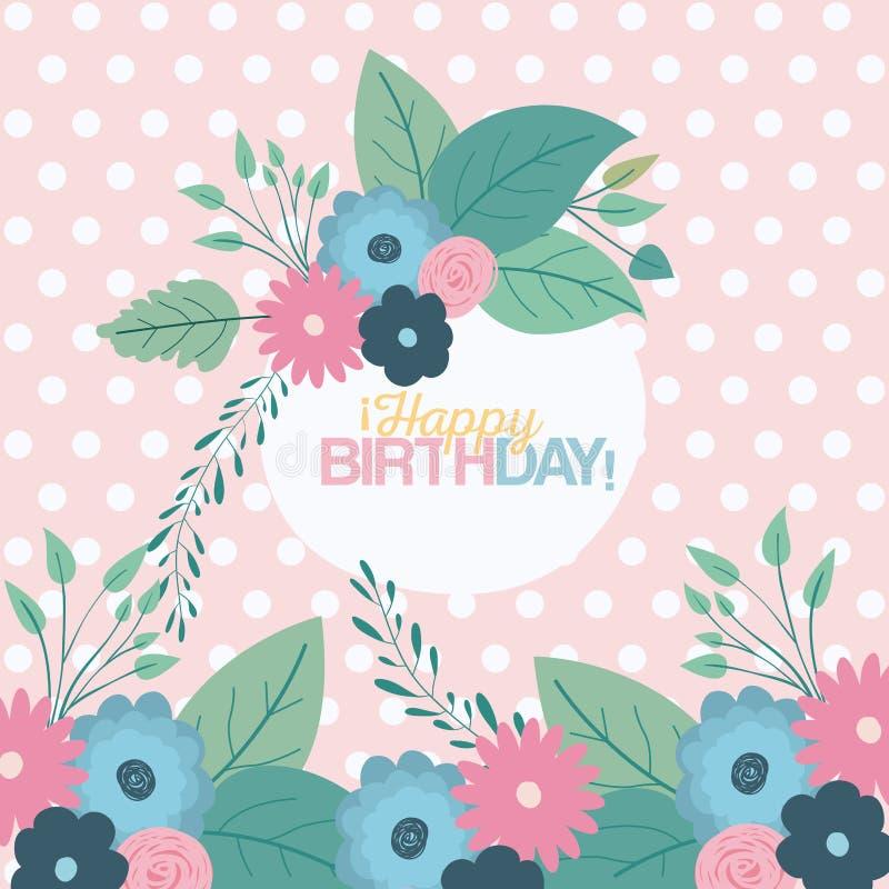 Colori il fondo pastello con i punti e la struttura circolare con i fiori decorativi e compleanno del testo il buon dentro illustrazione vettoriale