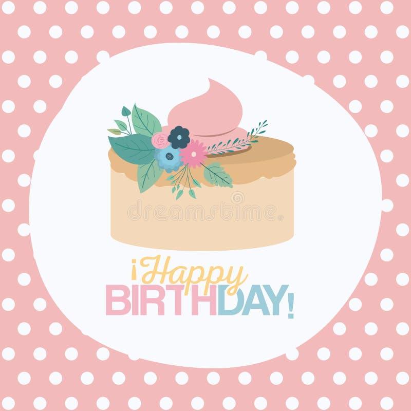 Colori il fondo pastello con i punti ed agglutini il buon compleanno illustrazione di stock