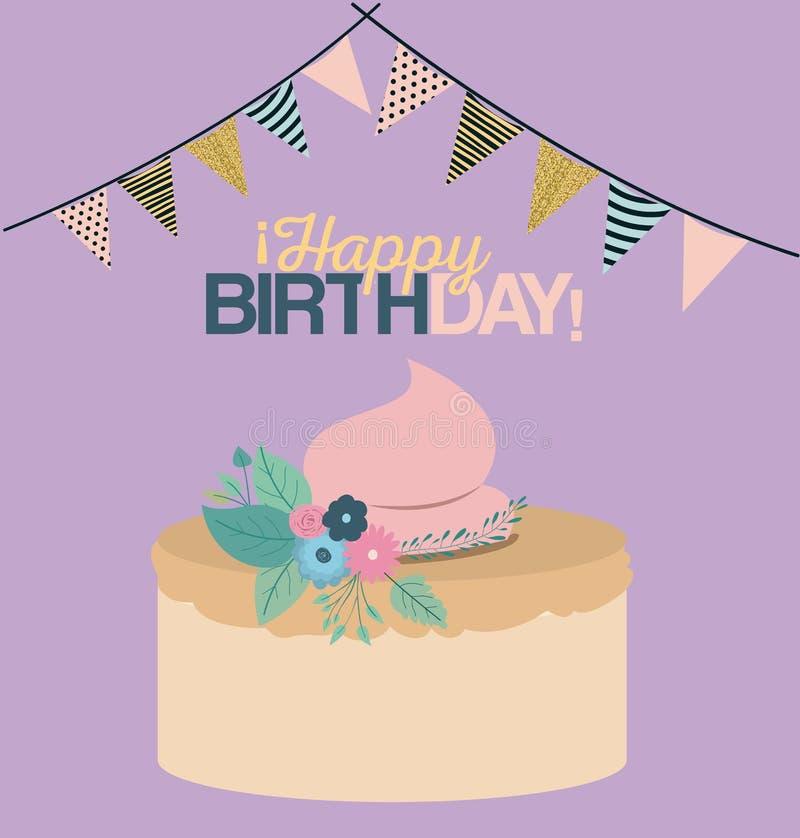 Colori il fondo pastello con le bandiere decorative per fare festa ed il dolce dolce e per mandare un sms al buon compleanno illustrazione di stock