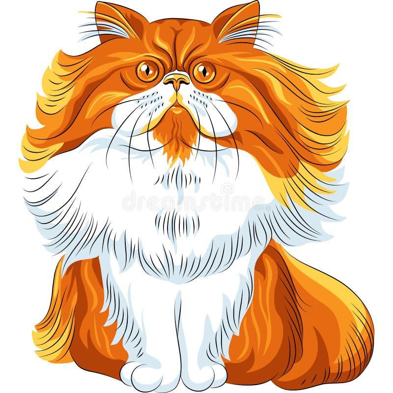Colori il gatto persiano lanuginoso di schizzo illustrazione di stock
