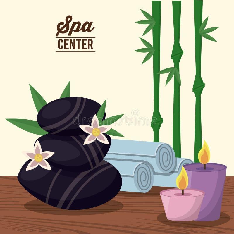 Colori il manifesto del centro della stazione termale con le pietre nere e pianta e candele ed asciugamani di bambù royalty illustrazione gratis