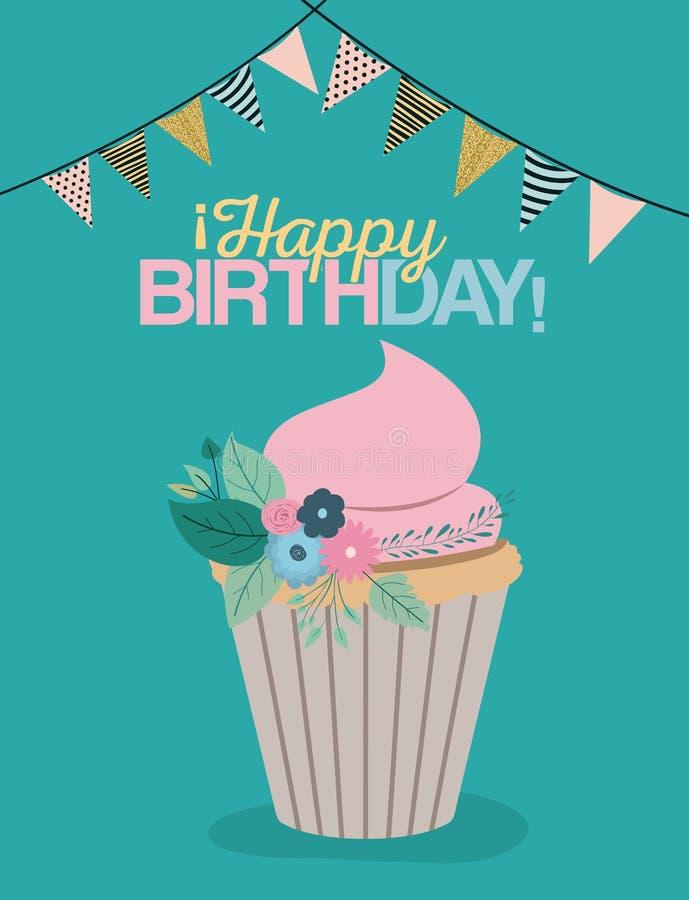 Colori il manifesto pastello con le bandiere decorative per fare festa ed il bigné dolce e per mandare un sms al buon compleanno illustrazione vettoriale