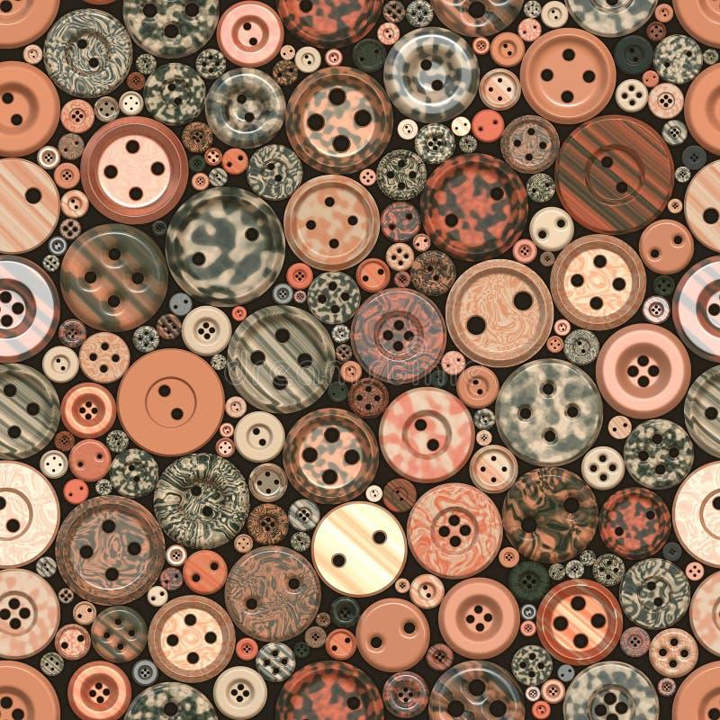 Colori il modello d'annata senza cuciture dei bottoni illustrazione di stock
