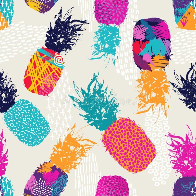 Colori il modello senza cuciture del retro ananas per l'estate illustrazione di stock