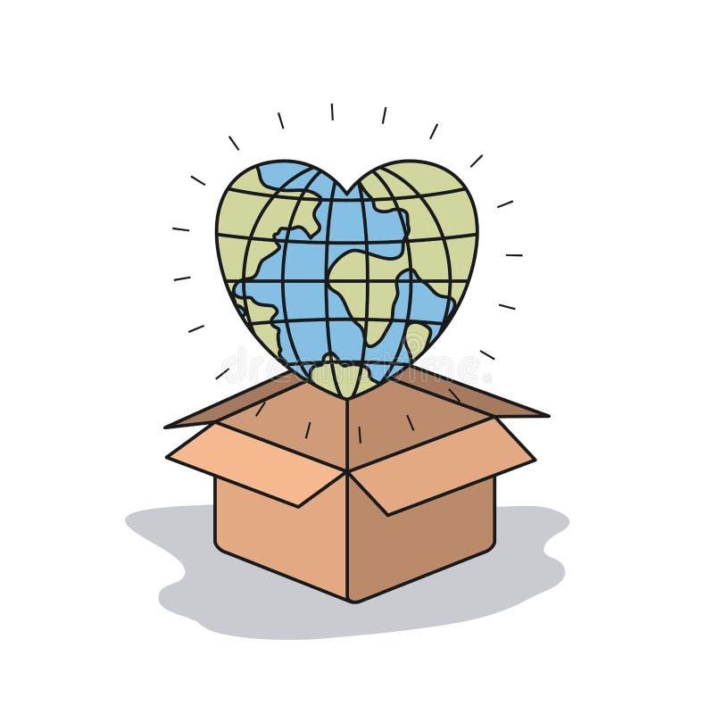 Colori il mondo della terra del globo del fondo di immagine nella forma del cuore che deposita in un contenitore di cartone illustrazione di stock