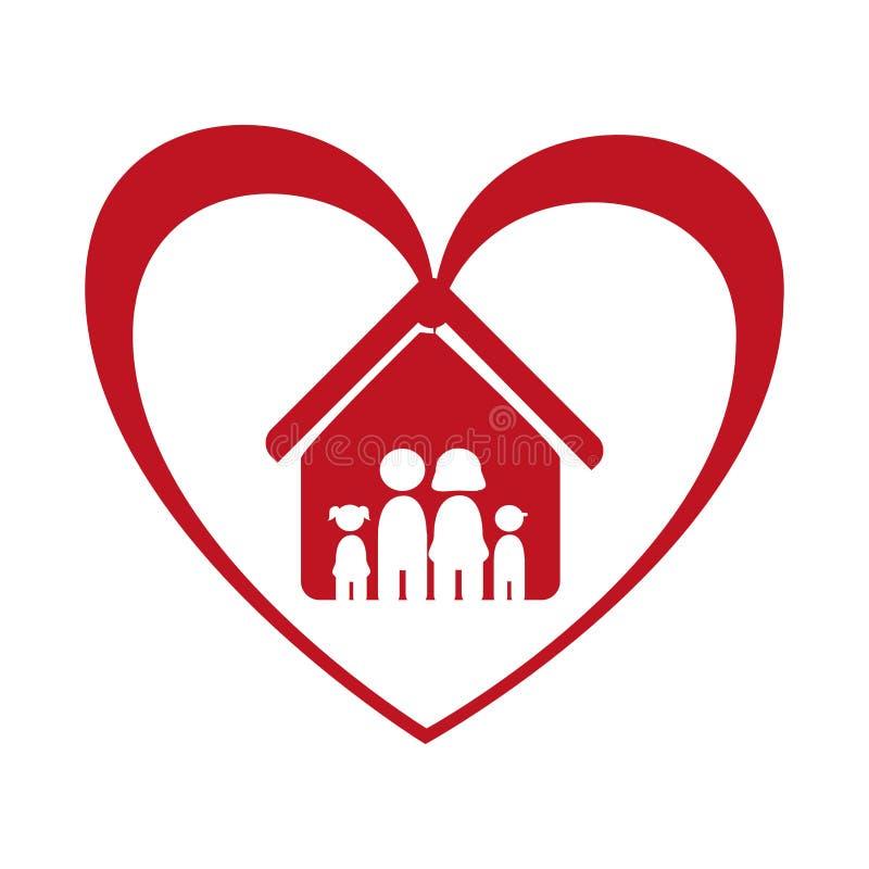 Colori il pittogramma con la famiglia nella casa e nel cuore intorno royalty illustrazione gratis