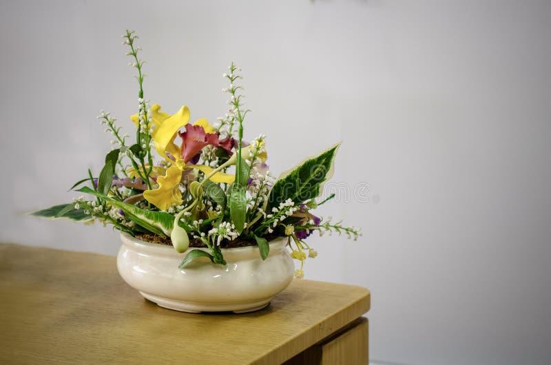 Colori il posto di plastica completo del fiore sulla tavola di legno fotografie stock libere da diritti