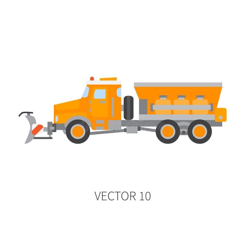 Colori il ribaltatore normale del camion dello snowplower del macchinario di costruzione dell'icona di vettore Stile industriale  illustrazione vettoriale