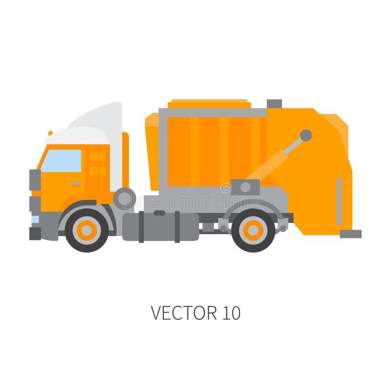 Colori il ribaltatore normale del camion di immondizia del macchinario di costruzione dell'icona di vettore Stile industriale Con royalty illustrazione gratis