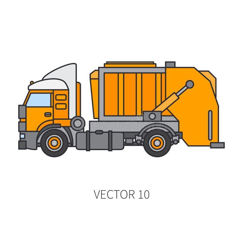 Colori il ribaltatore piano del camion di immondizia del macchinario di costruzione dell'icona di vettore Stile industriale Conse illustrazione vettoriale