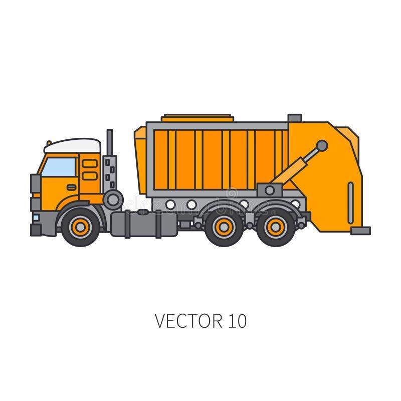 Colori il ribaltatore piano del camion di immondizia del macchinario di costruzione dell'icona di vettore Stile industriale Conse illustrazione di stock