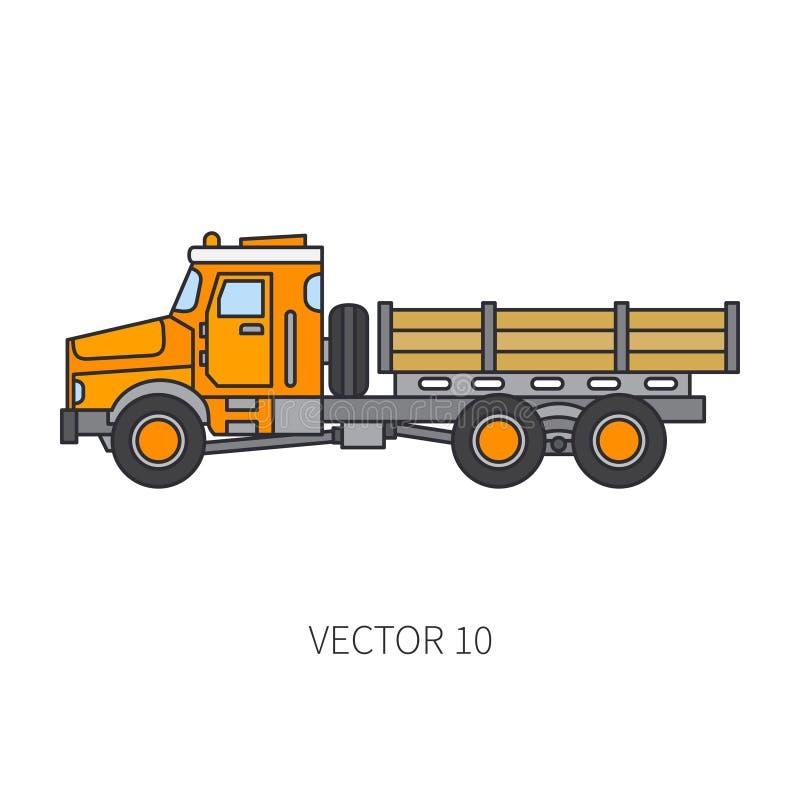 Colori il ribaltatore piano del camion del macchinario di costruzione dell'icona di vettore Stile industriale Consegna corporativ royalty illustrazione gratis