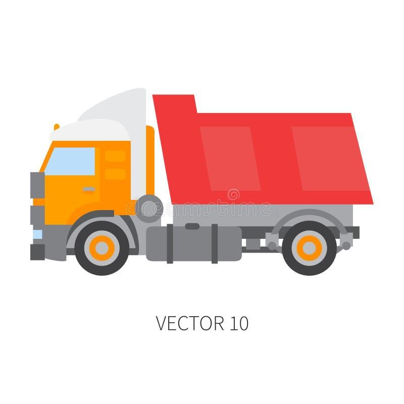 Colori il ribaltatore piano del camion del macchinario di costruzione dell'icona di vettore Stile industriale Consegna corporativ illustrazione vettoriale