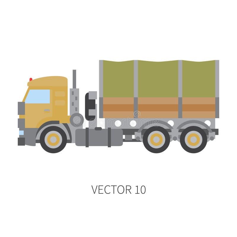 Colori il vagone piano del camion del macchinario di costruzione dell'icona di vettore Stile industriale Consegna corporativa del royalty illustrazione gratis