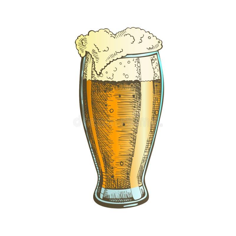 Colori il vetro disegnato a mano con il vettore della birra della bolla della schiuma illustrazione di stock