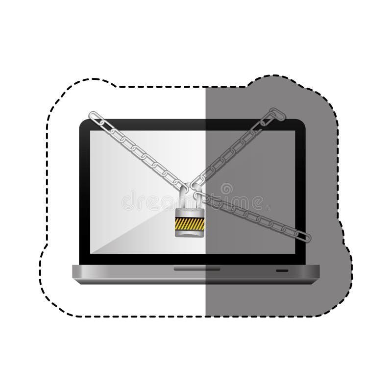 colori l'autoadesivo della siluetta con il computer portatile con le catene e padlock illustrazione vettoriale