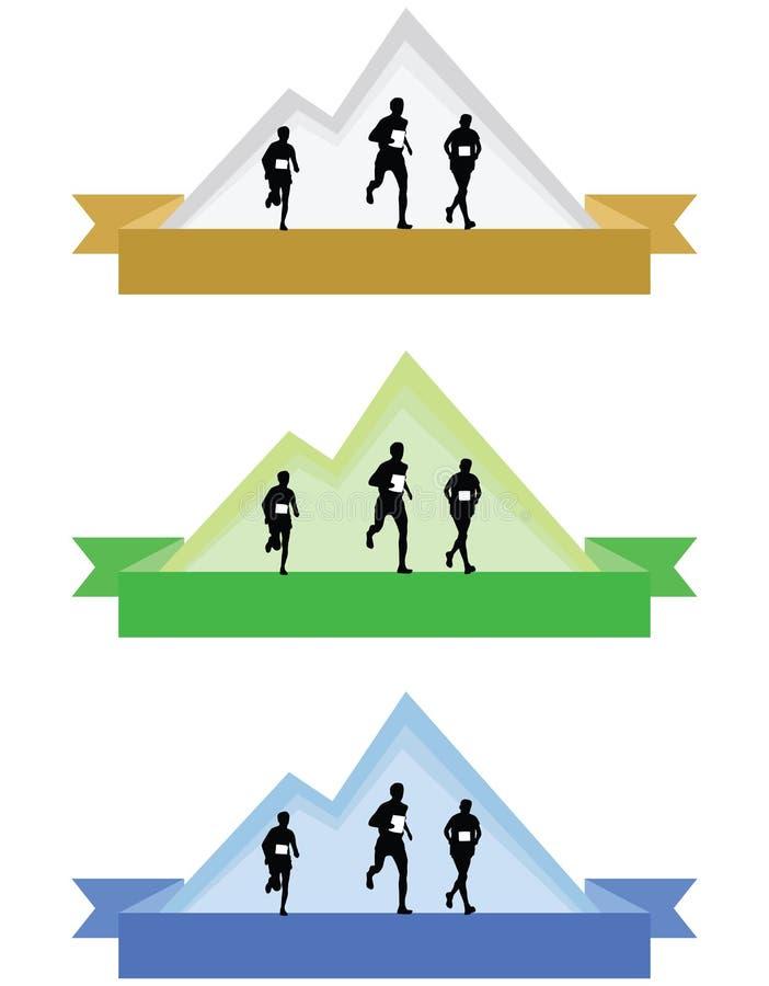 Colori l'illustrazione corrente di vettore del logos o dei distintivi della montagna immagini stock