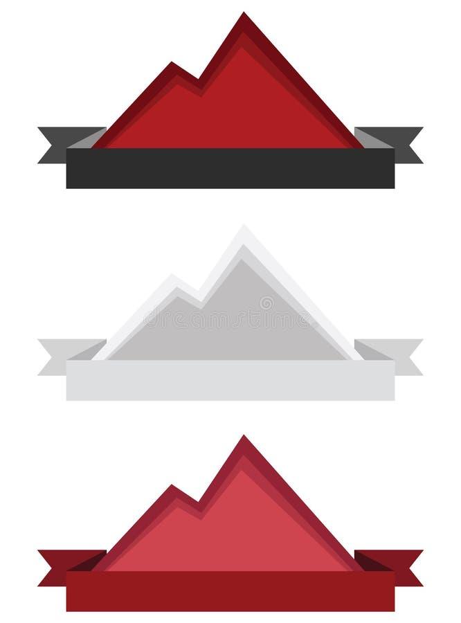 Colori l'illustrazione corrente di vettore del logos o dei distintivi della montagna fotografia stock libera da diritti