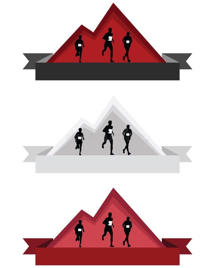Colori l'illustrazione corrente di vettore del logos o dei distintivi della montagna fotografia stock