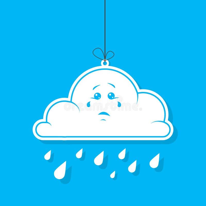 Colori l'illustrazione semplice di vettore della nuvola bianca del fumetto con pioggia su fondo blu royalty illustrazione gratis