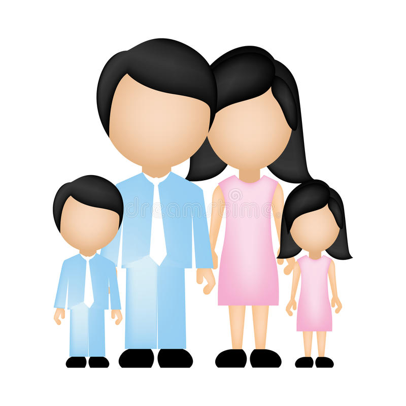 colori la famiglia anonima della siluetta in vestiti convenzionali con il figlio e la figlia royalty illustrazione gratis
