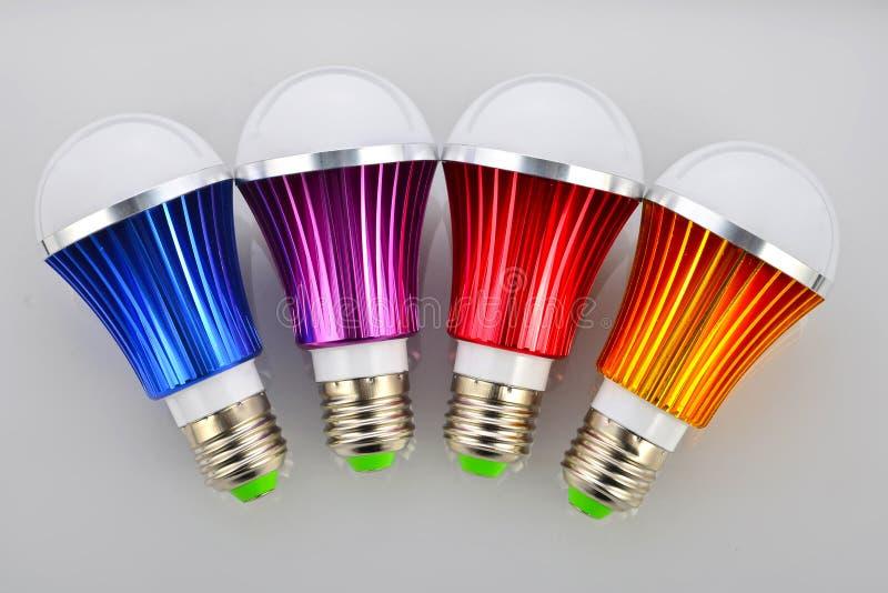 Colori la lampadina del LED fotografia stock