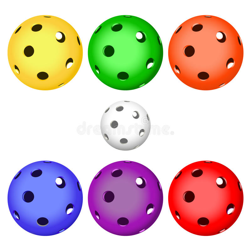 Colori la palla del floorball per il logo il gruppo e la tazza royalty illustrazione gratis