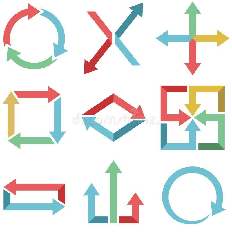 Colori la progettazione piana delle frecce illustrazione di stock