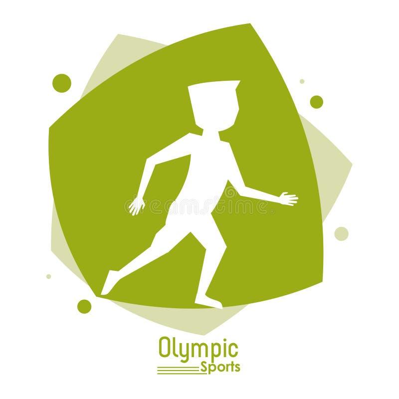 Colori la scena astratta con lo sport olimpico dell'uomo anonimo del corridore della siluetta royalty illustrazione gratis