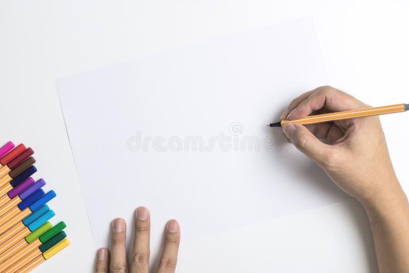 Colori la scrittura della carta in bianco e della penna alla pagina vuota fotografie stock libere da diritti