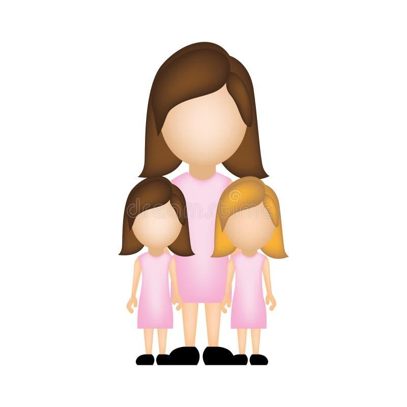 colori la siluetta anonima con la madre e le figlie in vestiti convenzionali illustrazione vettoriale