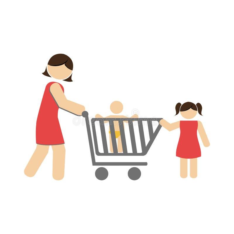 Colori la siluetta con la mamma e bambini e carrello royalty illustrazione gratis
