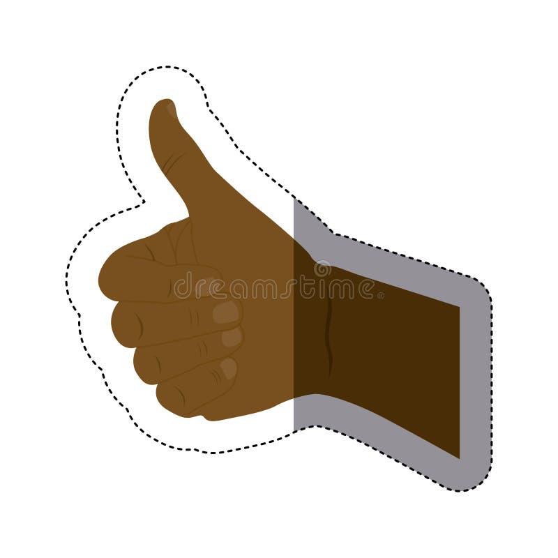 colori la siluetta dell'autoadesivo con la mano di afro con il segnale approvata illustrazione di stock