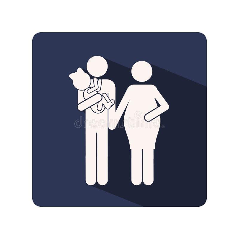 colori la struttura della siluetta con la donna incinta e l'uomo con il bambino in armi illustrazione vettoriale