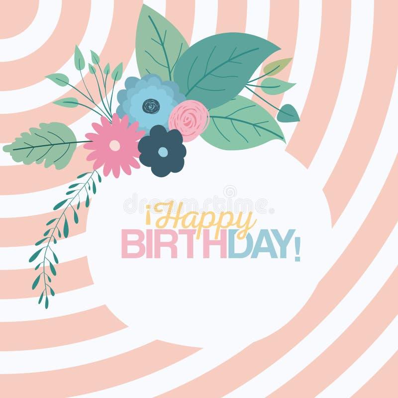 Colori le linee struttura circolare del pastello del fondo con i fiori decorativi e compleanno del testo il buon dentro illustrazione vettoriale