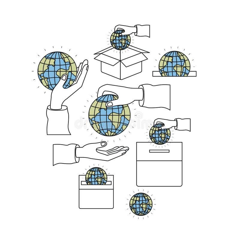Colori le mani dell'insieme di immagine della siluetta che depositano il mondo della terra del globo in palma ed in scatola di ca illustrazione vettoriale