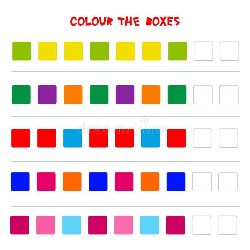 Colori le scatole Gioco educativo che cosa verrà dopo di istruzione che conta il gioco per i bambini in età prescolare Vettore illustrazione di stock