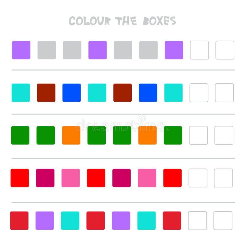 Colori le scatole Gioco educativo che cosa verrà dopo di istruzione che conta il gioco per i bambini in età prescolare Vettore royalty illustrazione gratis