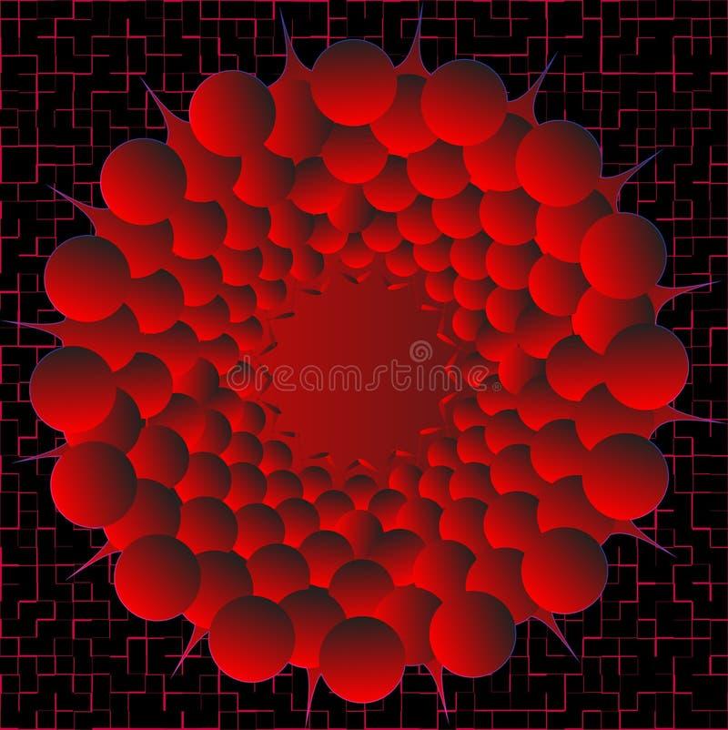 Colori le sfere con il gradiente rosso su una priorità bassa nera royalty illustrazione gratis