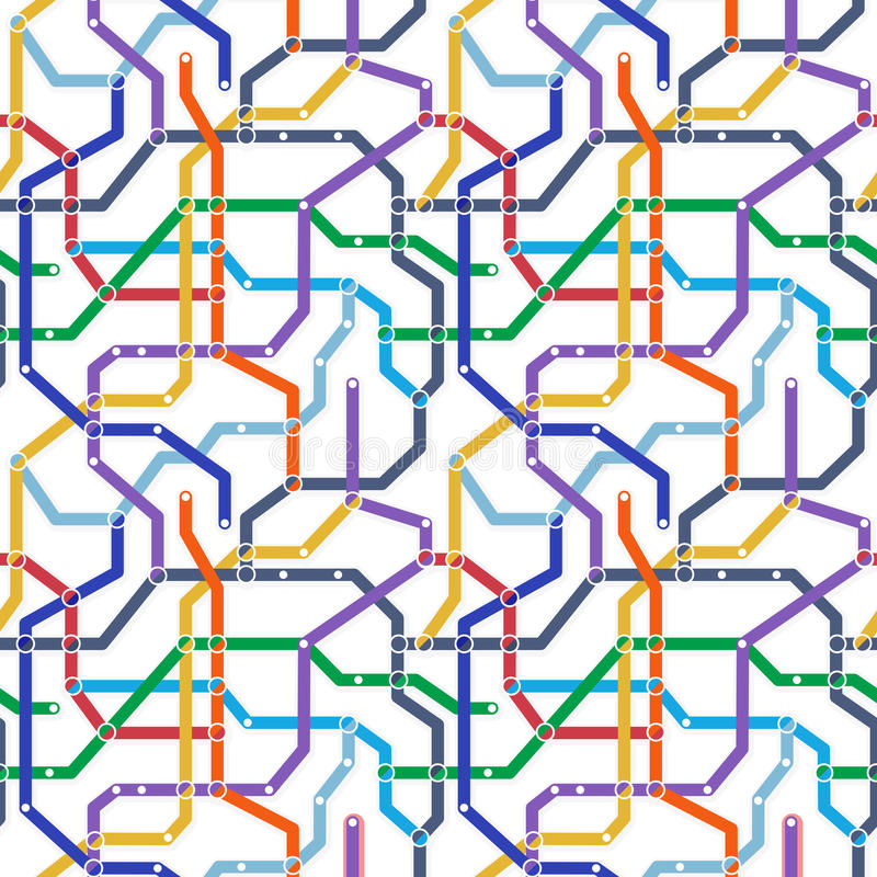 Colori lo schema del trasporto ferroviario della metropolitana su fondo bianco Abstra royalty illustrazione gratis