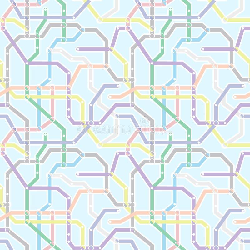 Colori lo schema del trasporto ferroviario della metropolitana su fondo blu Abstrac royalty illustrazione gratis