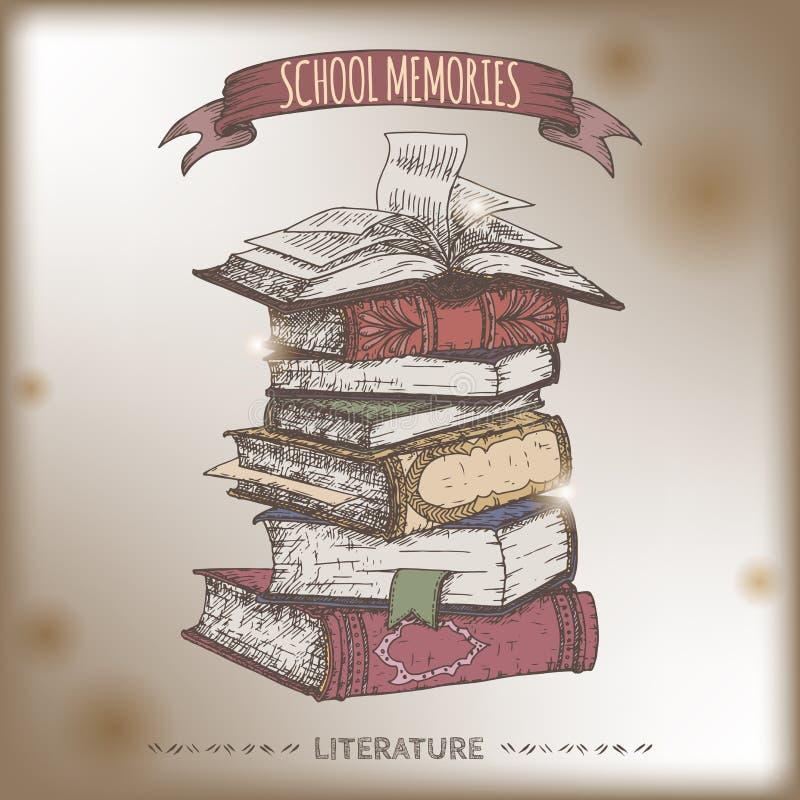 Colori lo schizzo della pila di libro disposto su vecchio fondo di carta illustrazione vettoriale