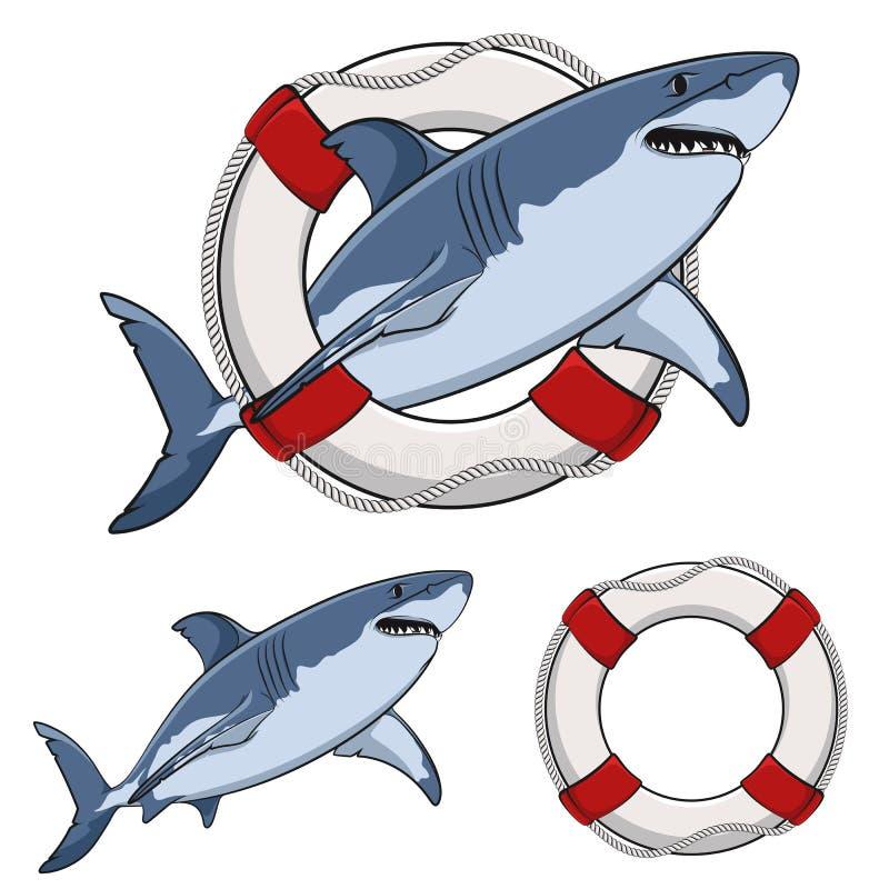 Colori lo squalo bianco di immagine e un salvagente Oggetti di vettore illustrazione vettoriale
