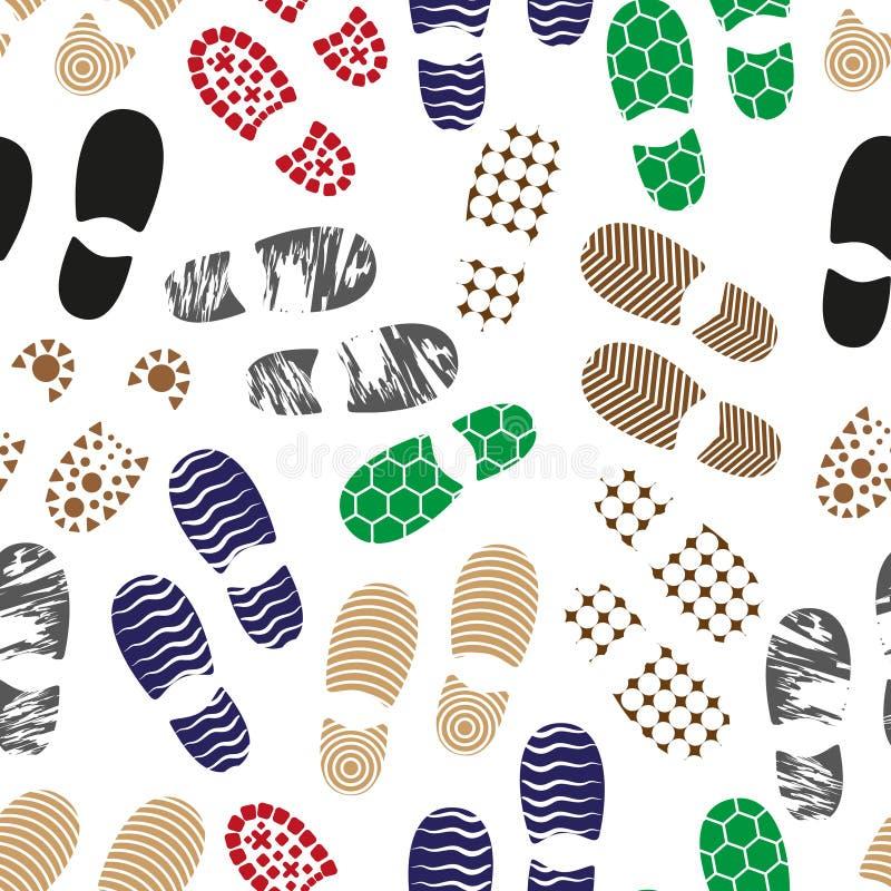 Colori modello senza cuciture eps10 di orma delle scarpe dell'essere umano il vario solo illustrazione vettoriale