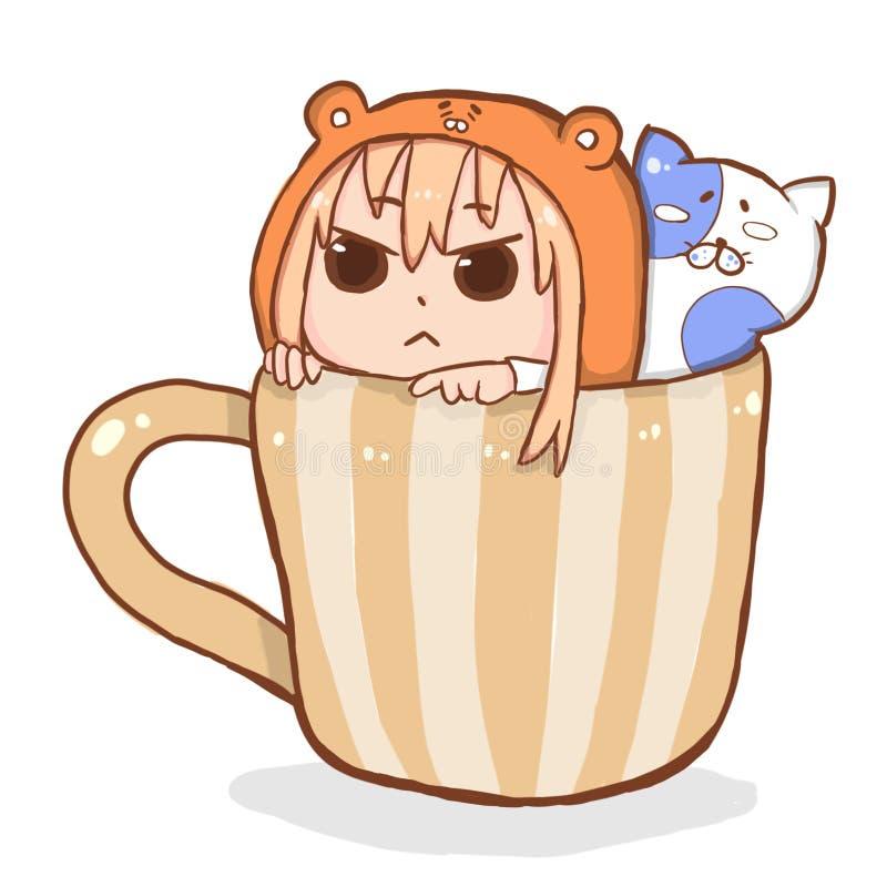 Colori pastelli assorbiti ragazza sveglia di chibi di anime royalty illustrazione gratis