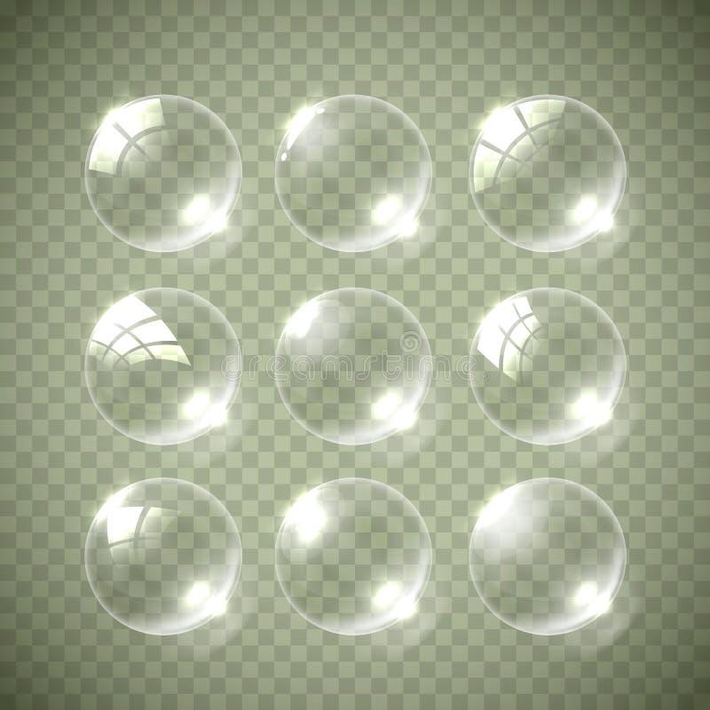 Colori realistici della bolla di sapone illustrazione vettoriale