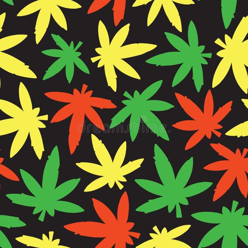 Colori senza cuciture di rasta del modello di vettore dell'erbaccia di ganja della marijuana royalty illustrazione gratis