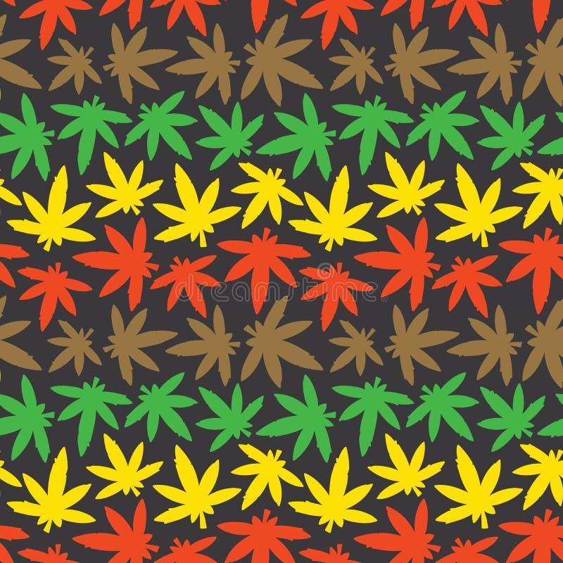 Colori senza cuciture di rasta del modello di vettore dell'erbaccia di ganja della marijuana illustrazione di stock