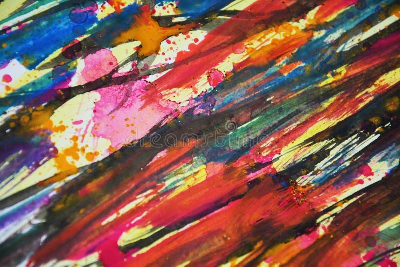 Colori vaghi blu nero rosa giallo verde arancio, contrasti, fondo creativo della pittura cerea fotografie stock