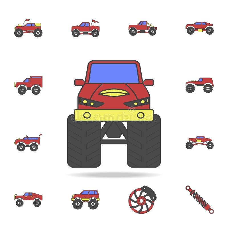 coloricon avant de gisement de voiture de Bigfoot Ensemble détaillé de grandes icônes de voiture de pied de couleur Conception gr illustration de vecteur